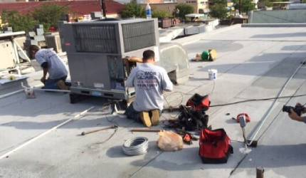 A pair of Mor Air members installing an AC unit outside in Los Angeles
