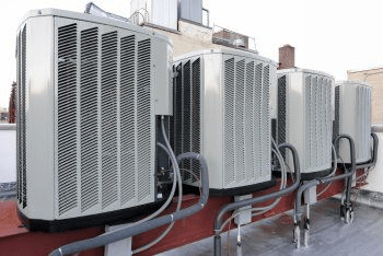 A Row of air conditioners outside in Los Angeles, CA